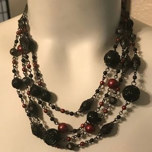 Vintage Rose Beads Necklace